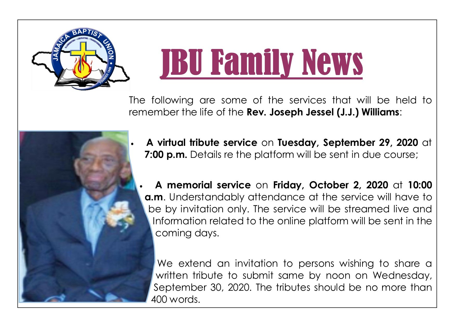 Family News – Rev. Joseph Jessel (J.J) Williams