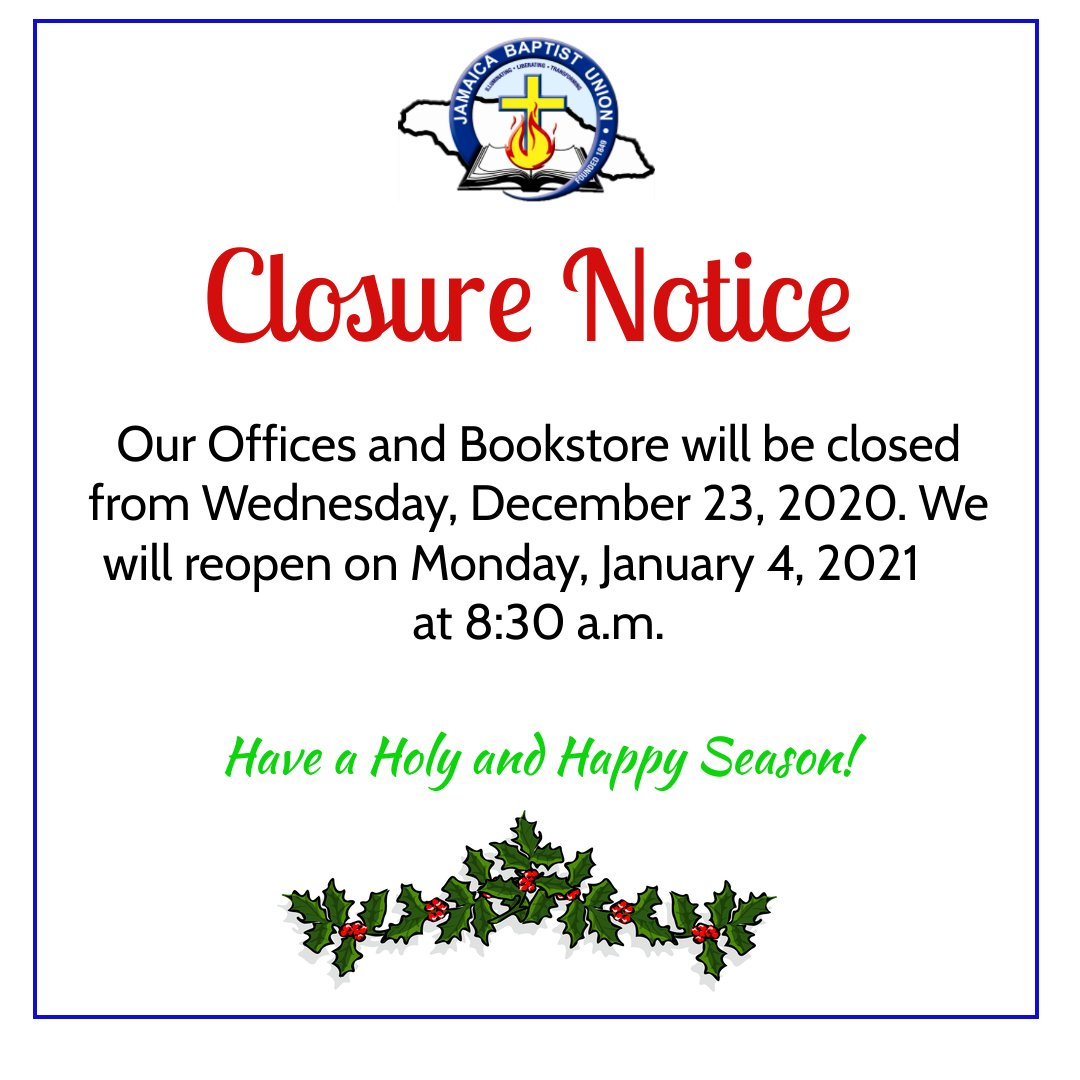 JBU Opening & Closing Hours – Advent & Christmas Season